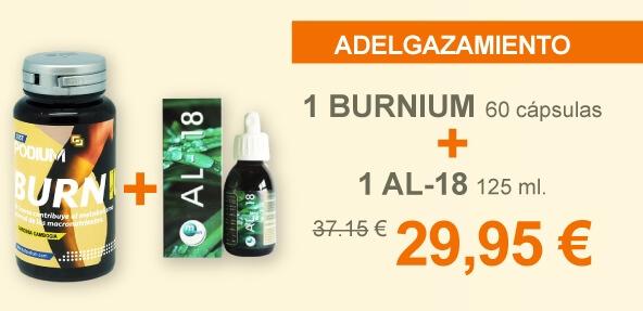 1 BURNIUM 60 cápsulas + 1 AL-18 125 ml